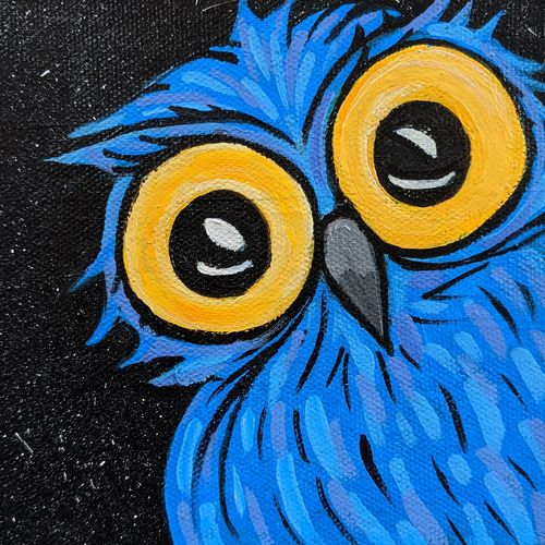 owl, 5 x 5 inch, tejashri dhoot,5x5inch,canvas,paintings,abstract paintings,wildlife paintings,animal paintings,paintings for dining room,paintings for living room,paintings for bedroom,paintings for office,paintings for bathroom,paintings for kids room,paintings for hotel,paintings for school,paintings for hospital,acrylic color,GAL02557237081