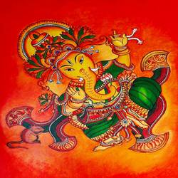ganesha, 18 x 24 inch, divya sumesh,18x24inch,canvas,paintings,religious paintings,ganesha paintings | lord ganesh paintings,kerala murals painting,acrylic color,GAL02568837093
