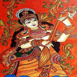 saraswathy, 18 x 24 inch, divya sumesh,18x24inch,canvas,paintings,figurative paintings,religious paintings,kerala murals painting,paintings for living room,paintings for office,paintings for school,acrylic color,GAL02568837096