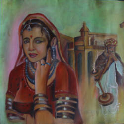 villeage women waiting , 24 x 19 inch, anand vedpathak,24x19inch,canvas,figurative paintings,paintings for living room,paintings for living room,oil color,GAL02513837099