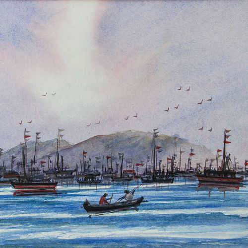 landscape-boats, 14 x 10 inch, gaurav jain,paintings for living room,horizontal,figurative paintings,handmade paper,ink color,14x10inch,GAL013673710