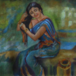 sensetive storke painting, 19 x 16 inch, anand vedpathak,19x16inch,canvas,paintings,figurative paintings,paintings for living room,paintings for bedroom,paintings for hotel,paintings for hospital,oil color,GAL02513837100