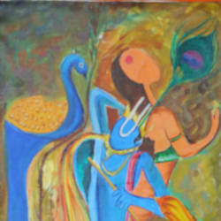 sensetive storke painting, 13 x 24 inch, anand vedpathak,13x24inch,canvas,paintings,radha krishna paintings,paintings for dining room,paintings for living room,paintings for bedroom,paintings for hotel,paintings for hospital,acrylic color,GAL02513837102