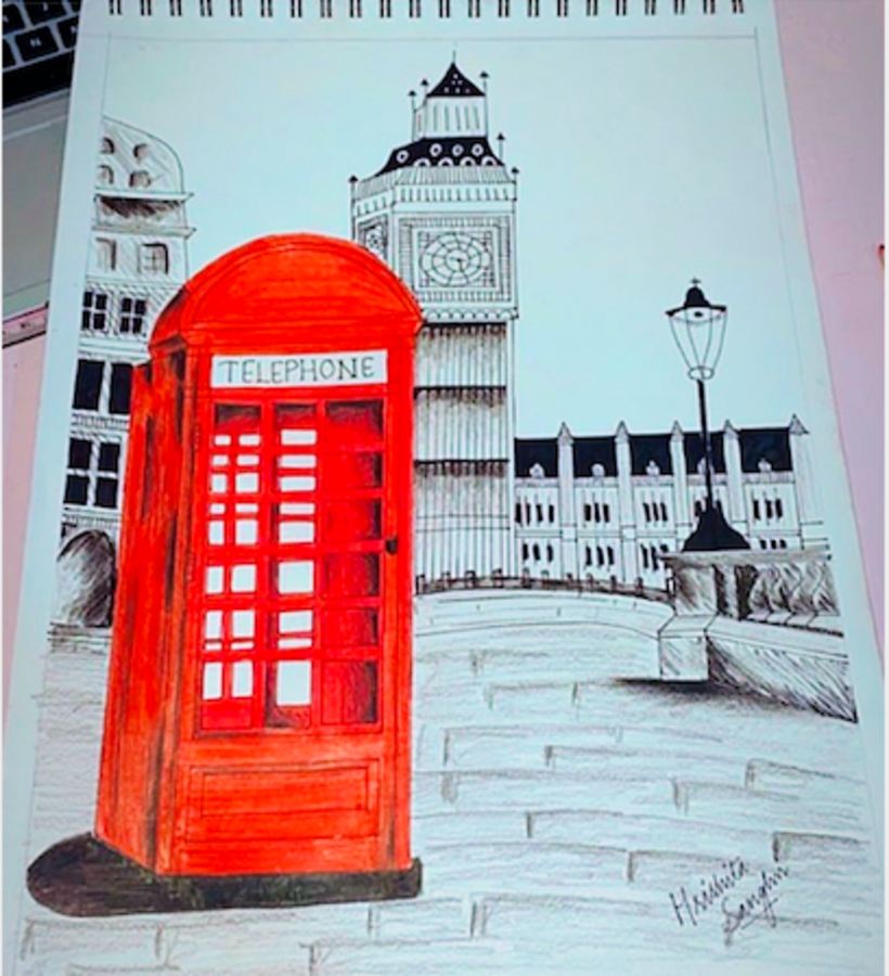 telephone booth, 12 x 17 inch, hrishita sanghvi,12x17inch,thick paper,drawings,illustration drawings,paintings for dining room,paintings for living room,paintings for bedroom,paintings for office,paintings for bathroom,paintings for kids room,paintings for hotel,paintings for kitchen,paintings for school,paintings for hospital,pen color,pencil color,paper,GAL02572137110