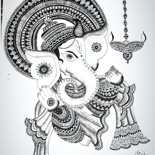 ganesha, 12 x 17 inch, hrishita sanghvi,12x17inch,thick paper,drawings,ganesha drawings,paintings for dining room,paintings for living room,paintings for bedroom,paintings for office,paintings for bathroom,paintings for kids room,paintings for hotel,paintings for kitchen,paintings for school,paintings for hospital,pen color,pencil color,paper,GAL02572137114