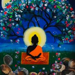 buddha praying under tree, 18 x 24 inch, pragati c,18x24inch,canvas,paintings,buddha paintings,religious paintings,nature paintings | scenery paintings,paintings for dining room,paintings for living room,paintings for office,paintings for kids room,paintings for hotel,paintings for school,paintings for hospital,acrylic color,GAL02554637117