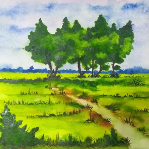 nature , 10 x 10 inch, arunava chakravarty,10x10inch,thick paper,nature paintings | scenery paintings,watercolor,GAL02549737122