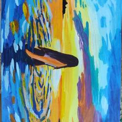 girl in sea, 8 x 11 inch, shubhi jain,8x11inch,thick paper,paintings,paintings for dining room,paintings for living room,paintings for bedroom,paintings for office,paintings for bathroom,paintings for hotel,acrylic color,GAL02574737128