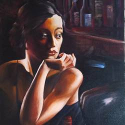 lady with wine, 15 x 30 inch, kumar ranadive,15x30inch,canvas,figurative paintings,realistic paintings,paintings for hotel,paintings for hotel,acrylic color,GAL01956937129