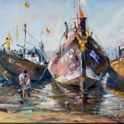 fishing boats on seashore with frame, 24 x 18 inch, gaurav jain,landscape paintings,paintings for living room,canvas,oil,24x18inch,GAL013673713
