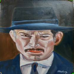 lee van cleef, 7 x 11 inch, stephen jeganathan,7x11inch,oil sheet,paintings,figurative paintings,oil color,GAL01255537139