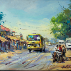 the yellow bus with frame, 24 x 18 inch, gaurav jain,cityscape paintings,paintings for living room,horizontal,canvas,acrylic color,24x18inch,GAL013673714