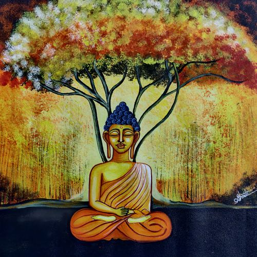 buddha under ancient tree, 26 x 20 inch, shruti julasana,26x20inch,canvas,paintings,abstract paintings,buddha paintings,modern art paintings,religious paintings,paintings for living room,paintings for office,paintings for hotel,acrylic color,GAL02578037172