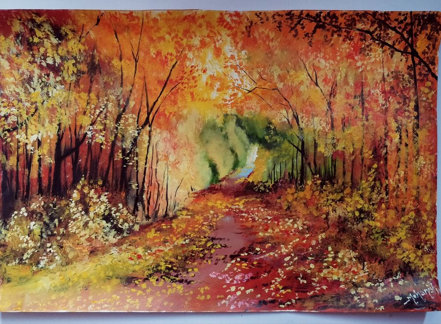 deep autumn forest road, 16 x 23 inch, mohanish rao,16x23inch,oil sheet,landscape paintings,nature paintings | scenery paintings,paintings for dining room,paintings for living room,paintings for bedroom,paintings for office,paintings for kids room,paintings for hotel,paintings for kitchen,paintings for school,paintings for hospital,paintings for dining room,paintings for living room,paintings for bedroom,paintings for office,paintings for kids room,paintings for hotel,paintings for kitchen,paintings for school,paintings for hospital,oil color,GAL02214137175