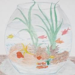 aquarium, 9 x 11 inch, mrs. kalyani lahon,modern art paintings,paintings for dining room,paper,pencil color,9x11inch,GAL06573718