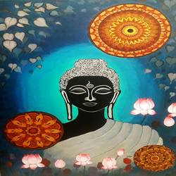 buddha-peaceful and focussed, 24 x 36 inch, divya sumesh,24x36inch,canvas,paintings,buddha paintings,figurative paintings,religious paintings,paintings for living room,paintings for office,paintings for school,paintings for hospital,acrylic color,GAL02568837198