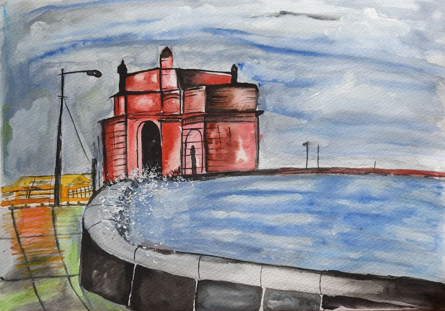 gateway of india, 8 x 12 inch, anshul jain,8x12inch,brustro watercolor paper,paintings,cityscape paintings,landscape paintings,conceptual paintings,paintings for dining room,paintings for living room,paintings for bedroom,paintings for office,paintings for kids room,paintings for hotel,paintings for kitchen,paintings for school,paintings for hospital,watercolor,GAL02558837199