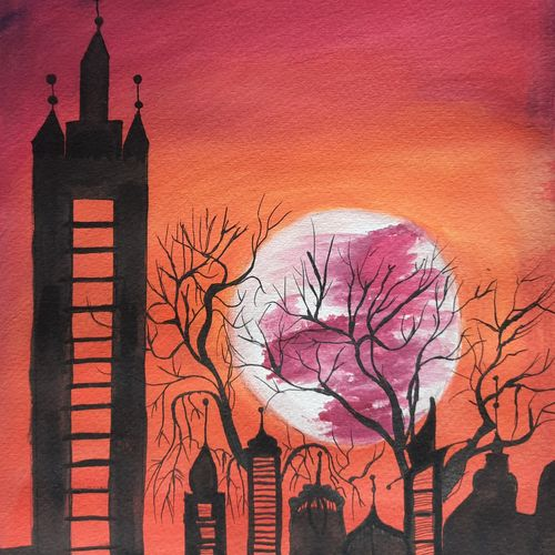 moonlit night, 8 x 12 inch, anshul jain,8x12inch,brustro watercolor paper,paintings,cityscape paintings,landscape paintings,modern art paintings,nature paintings | scenery paintings,paintings for dining room,paintings for living room,paintings for bedroom,paintings for office,paintings for kids room,paintings for hotel,paintings for kitchen,paintings for school,paintings for hospital,watercolor,GAL02558837200