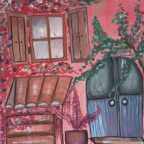 the pink house, 8 x 12 inch, anshul jain,8x12inch,brustro watercolor paper,paintings,flower paintings,cityscape paintings,modern art paintings,paintings for dining room,paintings for living room,paintings for bedroom,paintings for office,paintings for kids room,paintings for hotel,paintings for kitchen,paintings for school,paintings for hospital,watercolor,GAL02558837201
