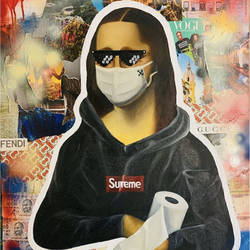 monalisa during lockdown , 30 x 36 inch, shivansh  modi,30x36inch,canvas board,paintings,abstract paintings,modern art paintings,portrait paintings,art deco paintings,pop art paintings,street art,paintings for dining room,paintings for living room,paintings for bedroom,paintings for office,paintings for bathroom,paintings for kids room,paintings for hotel,paintings for kitchen,paintings for school,paintings for hospital,acrylic color,mixed media,oil color,paper,GAL02580237205