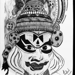 kathakali, 12 x 17 inch, prakrati  mathur,12x17inch,paper,fine art drawings,folk drawings,pen color,paper,GAL02505837210