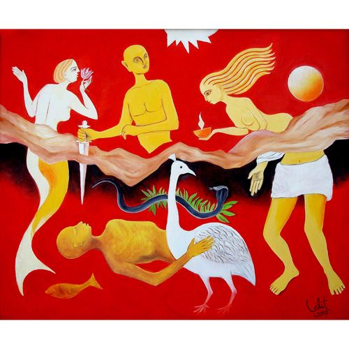 heaven & hell, 36 x 33 inch, lalit jain,36x33inch,canvas,abstract paintings,acrylic color,GAL02582037220