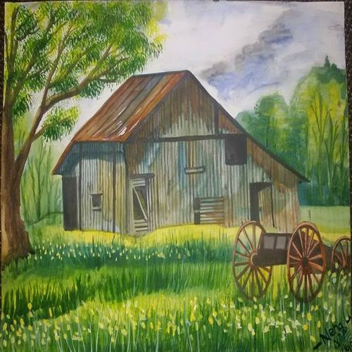 american barn, 16 x 12 inch, neha upadhye,16x12inch,handmade paper,landscape paintings,nature paintings   scenery paintings,paintings for dining room,paintings for living room,paintings for bedroom,paintings for office,paintings for dining room,paintings for living room,paintings for bedroom,paintings for office,watercolor,GAL02508737221