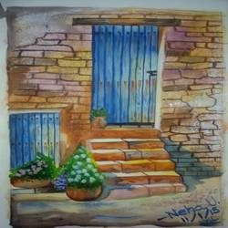 old wooden door in a stone wall, 12 x 16 inch, neha upadhye,12x16inch,renaissance watercolor paper,paintings,landscape paintings,nature paintings | scenery paintings,paintings for dining room,paintings for living room,paintings for bedroom,paintings for office,paintings for kids room,watercolor,GAL02508737223