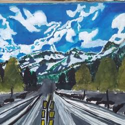 snowy mountains and road, 15 x 12 inch, pranita tiwari,15x12inch,paper,paintings,landscape paintings,acrylic color,fabric,poster color,graphite pencil,glass,metal,paper,GAL02581537232