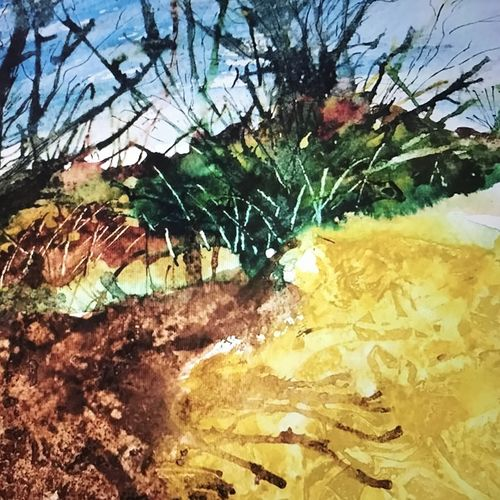 scoop on soil, 19 x 19 inch, manav verma,landscape paintings,paintings for living room,thick paper,watercolor,19x19inch,GAL013763724