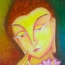 buddha, 12 x 16 inch, suchitra polamuri,12x16inch,canvas,buddha paintings,paintings for living room,paintings for living room,oil color,GAL02583637260