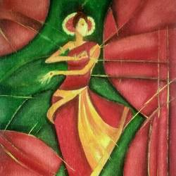 dancing girl, 12 x 16 inch, suchitra polamuri,12x16inch,canvas,paintings,modern art paintings,oil color,GAL02583637263