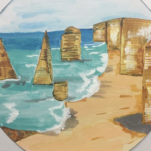 great ocean road, 11 x 11 inch, anjali mewada,11x11inch,thick paper,paintings,landscape paintings,art deco paintings,paintings for dining room,paintings for living room,paintings for bedroom,paintings for office,paintings for kids room,paintings for hotel,paintings for school,paintings for hospital,acrylic color,paper,GAL02545537268