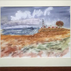 lighthouse on the shore, 12 x 12 inch, manav verma,landscape paintings,paintings for bedroom,thick paper,watercolor,12x12inch,GAL013763727