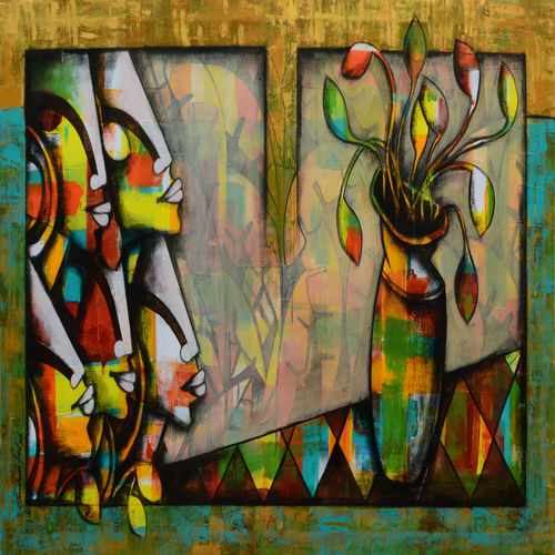 the blossoming mind, 54 x 30 inch, anupam  pal,54x30inch,canvas,paintings,abstract paintings,buddha paintings,figurative paintings,flower paintings,pop art paintings,realism paintings,surrealism paintings,warli paintings,phad painting,paintings for dining room,paintings for living room,paintings for bedroom,paintings for office,paintings for bathroom,paintings for kids room,paintings for hotel,paintings for kitchen,paintings for school,paintings for hospital,acrylic color,charcoal,mixed media,GAL08237274