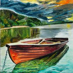 boat in a lake, 18 x 27 inch, mangesh dani,18x27inch,canvas,paintings,nature paintings | scenery paintings,photorealism paintings,oil color,GAL02579737277