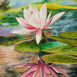 laxmi kamal lotus, 12 x 16 inch, mangesh dani,12x16inch,canvas,paintings,flower paintings,photorealism,oil color,GAL02579737279