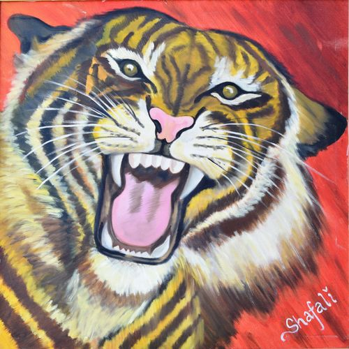 save the roar, 24 x 24 inch, shafali khanna,wildlife paintings,paintings for living room,canvas,oil,24x24inch,GAL013773728