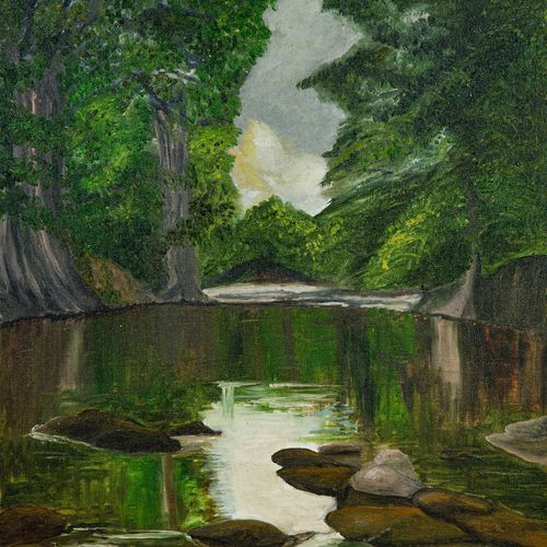 placid lake in forest, 16 x 20 inch, mangesh dani,16x20inch,canvas,paintings,nature paintings | scenery paintings,photorealism,oil color,GAL02579737282