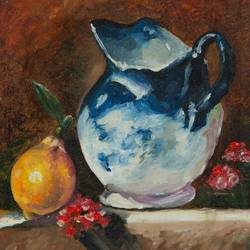 yellow fruit and blue vase, 8 x 10 inch, mangesh dani,8x10inch,canvas,paintings,still life paintings,oil color,GAL02579737284