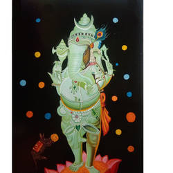 god ganpti standing in very beatiful lotous, 20 x 33 inch, anand vedpathak,20x33inch,hardboard,paintings,ganesha paintings | lord ganesh paintings,paintings for dining room,paintings for living room,paintings for bedroom,paintings for office,paintings for kids room,paintings for hotel,paintings for kitchen,paintings for school,paintings for hospital,enamel color,GAL02513837285