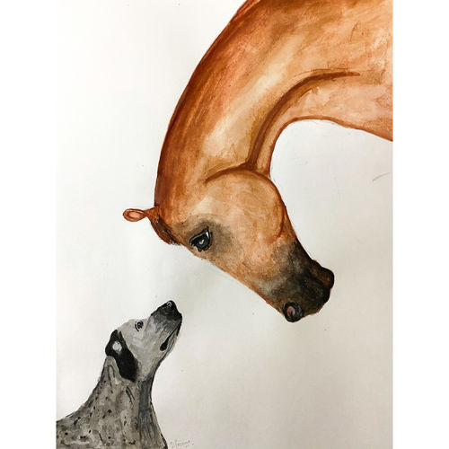 the horse & the hound , 8 x 10 inch, shivangini  rathore ,8x10inch,thick paper,abstract paintings,wildlife paintings,modern art paintings,portrait paintings,art deco paintings,portraiture,animal paintings,horse paintings,dog painting,children paintings,paintings for dining room,paintings for living room,paintings for bedroom,paintings for kids room,paintings for hotel,paintings for school,paintings for dining room,paintings for living room,paintings for bedroom,paintings for kids room,paintings for hotel,paintings for school,watercolor,paper,GAL02587137286