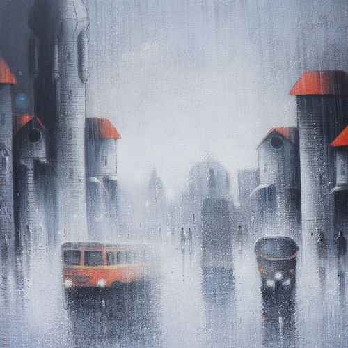 monsoon ride, 30 x 24 inch, somnath bothe,30x24inch,canvas,paintings,cityscape paintings,impressionist paintings,realism paintings,street art,contemporary paintings,paintings for dining room,paintings for living room,paintings for bedroom,paintings for office,paintings for kids room,paintings for hotel,paintings for school,paintings for hospital,acrylic color,GAL073337297