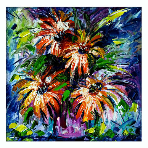 flowers ii, 12 x 12 inch, bahadur singh,12x12inch,canvas board,paintings,abstract paintings,figurative paintings,flower paintings,landscape paintings,modern art paintings,nature paintings | scenery paintings,abstract expressionism paintings,contemporary paintings,paintings for dining room,paintings for living room,paintings for bedroom,paintings for office,paintings for bathroom,paintings for kids room,paintings for hotel,paintings for kitchen,paintings for school,paintings for hospital,oil color,GAL0635137310