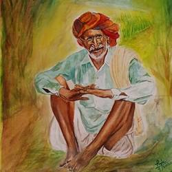 a farmer, 11 x 16 inch, puja nag,11x16inch,brustro watercolor paper,paintings,impressionist paintings,paintings for dining room,paintings for living room,paintings for bedroom,paintings for office,paintings for hotel,paintings for kitchen,paintings for school,watercolor,paper,GAL091937323