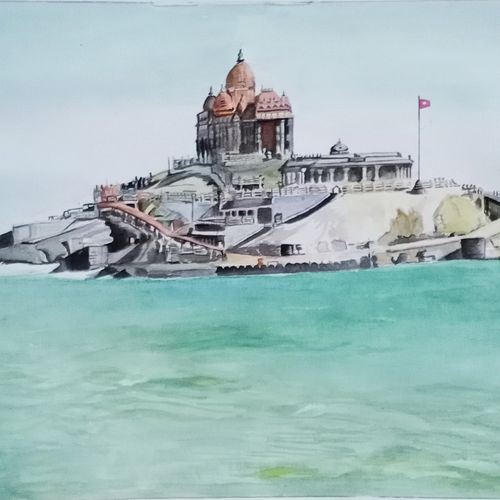 kanyakumari, 16 x 11 inch, puja nag,16x11inch,brustro watercolor paper,religious paintings,paintings for dining room,paintings for living room,paintings for bedroom,paintings for office,paintings for hotel,paintings for school,paintings for hospital,paintings for dining room,paintings for living room,paintings for bedroom,paintings for office,paintings for hotel,paintings for school,paintings for hospital,watercolor,GAL091937324