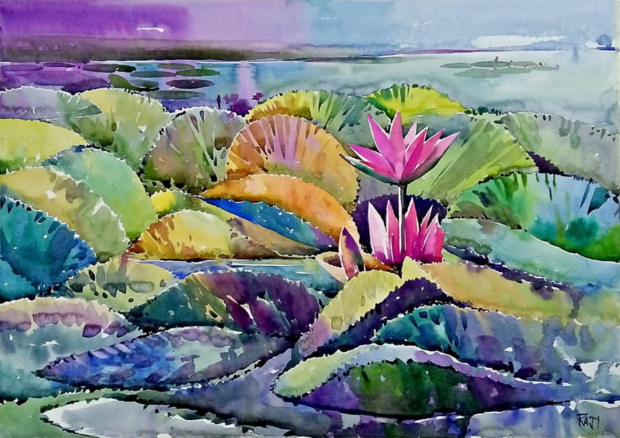 water lily, 21 x 15 inch, raji p,21x15inch,canson paper,paintings,wildlife paintings,flower paintings,landscape paintings,still life paintings,nature paintings | scenery paintings,impressionist paintings,paintings for dining room,paintings for living room,paintings for bedroom,paintings for kids room,paintings for hotel,paintings for kitchen,paintings for school,paintings for hospital,watercolor,GAL059037325