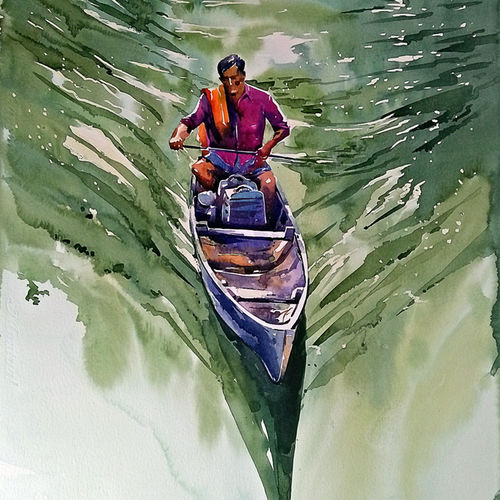 travelling on the waves, 15 x 21 inch, raji p,15x21inch,canson paper,paintings,abstract paintings,figurative paintings,landscape paintings,nature paintings | scenery paintings,impressionist paintings,water fountain paintings,paintings for dining room,paintings for living room,paintings for bedroom,paintings for kids room,paintings for hotel,paintings for kitchen,paintings for school,paintings for hospital,watercolor,GAL059037328