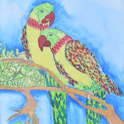 love birds, 12 x 17 inch, shafali khanna,photorealism paintings,paintings for living room,love paintings,thick paper,poster color,12x17inch,GAL013773733heart,family,caring,happiness,forever,happy,trust,passion,romance,sweet,kiss,love,hugs,warm,fun,kisses,joy,friendship,marriage,chocolate,husband,wife,forever,caring,couple,sweetheart