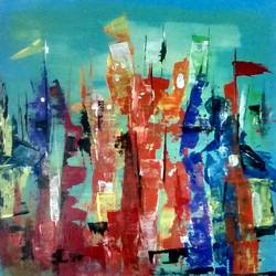 holy city, 15 x 15 inch, smriti sharma,abstract paintings,paintings for living room,thick paper,acrylic color,15x15inch,GAL013783734